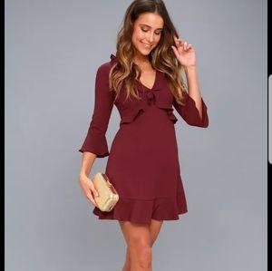 Burgundy ruffle hem dress